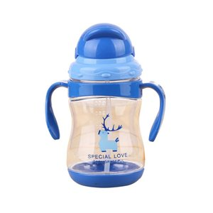 300 ml Baby Sippy Cups Kids Drinking Bottles Infant Children Learning Drinking Cups With Double Handles & Straws