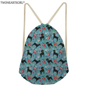 Wholesale TWOHEARTSGIRL Coon Hound Print Drawstring Bag Fashion Portable Drawstring Bags Women Storage Clothes Shoes Travel String Pouch