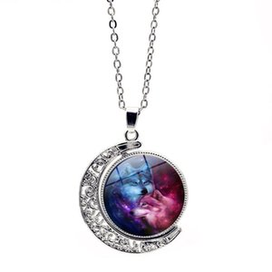 Wholesale Starry Sky Down Real Wolf Hunter Necklace Fashion Crystal Time Gem Designer Fine Jewelry Women Necklaces Pendant For Female Collar