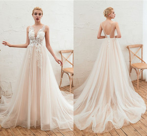 Wholesale White Ivory Summer Boho Wedding Dresses For Western Country Sexy Backless Bridal Gowns A Line Sheer Neck Appliqued Ruched Long CPS1311