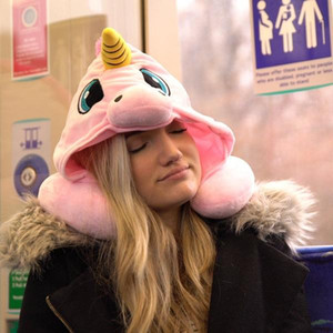 Wholesale Cartoon Unicorn Neck Rest U Shaped Travel Hooded Pillow Cushion Compact Soft Hooded Unicorn Travel Pillow Cute