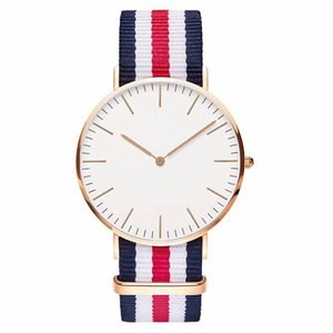 Wholesale Hot Nylon Strap Casual Men Watch Classic Fashion Striped Ladies Wrist Watch Reloj Mujer Super Simple Relogio Masculino DW Clock