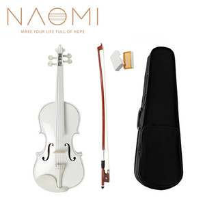 NAOMI Acoustic Violin 4 4 Full Size Violin Fiddle White Violin SET For Kids Beginners And Students W Case Row Rosin New