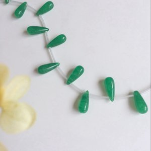 Wholesale 8 MM Strand Tear Drop Shape Natural Green Stone Jewelry Loose Beads