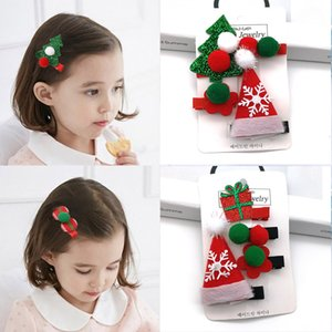 Wholesale 2 set Cute Christmas Hair Clip Candy Santa Claus Hat Hairpin Baby Girl Children Headdress Duckbill Clip Butterfly Barrettes