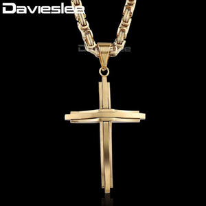 Fashion Mens Boys Unisex Stainless Steel Cross Pendant Necklace Chain DLKPM83