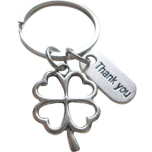 Wholesale Lucky Thank You Four leaf Clover Keychain For Keys Car Bag Key Ring Handbag Party Couple Key Chains Jewelry Gifts Crafts Accessories