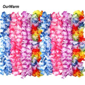 Wholesale OurWarm Hawaiian Artificial Flowers Leis Garland Necklace Luau Party Beach Party Decoration Hawaiian Leis Flower Length cm