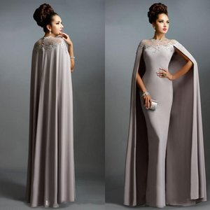 Wholesale gray plus size mother bride dresses resale online - Cheap Real Image Long Mermaid Evening Dresses With Cape Illusion Neck Lace Mother of the Bride Dresses Long Formal Party Prom Gowns