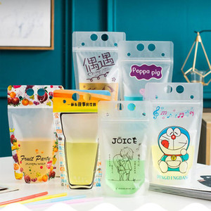 Wholesale tea ups for sale - Group buy colors Drink Pouches Bags frosted Zipper Stand up Plastic Drinking Bag with straw Drink Fruit Juice Milk Tea Liquid Bag ml