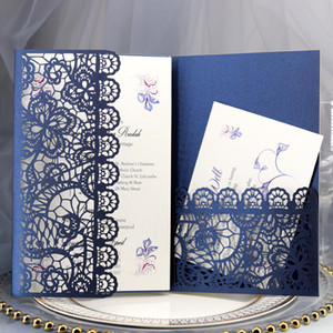 Dark Blue Lace Wedding Invitations Elegant Laser Cut Trifold Pocket Invitation Cards for Quinceanera Engagement Graduation Party Free Ship