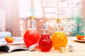 Wholesale 300ml light bulb beverage bottle milk tea bottle plastic juice bottle creative yogurt cup with straw cup Drinkware tool