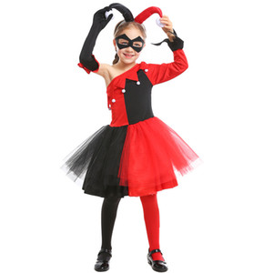 Wholesale Harley Quinn cosplay costume Girls Dress with Headdress Mask Joker Fancy Children Halloween Birthday Costume Kids Party outfit