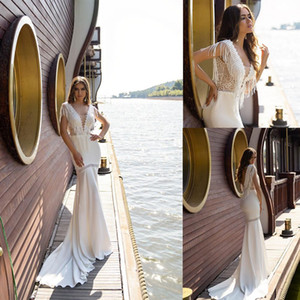 Wholesale beach satin backless sexy wedding dresses for sale - Group buy 2020 Beach Mermaid Wedding Dresses Sheer V Neck Lace Tassel Bridal Gowns Sweep Train Satin Backless Wedding Dress