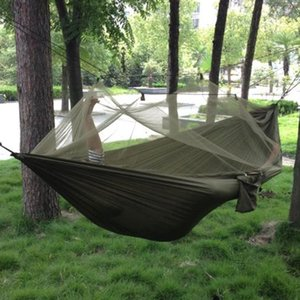 1-2 Person Outdoor Mosquito Net Parachute Hammock Camping Hanging Sleeping Bed Swing Portable Double Chair Hamac Army Green on Sale