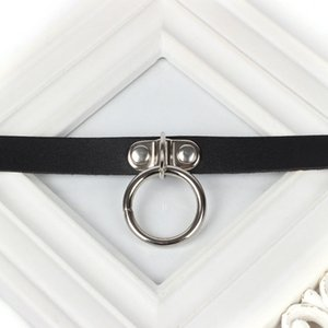 Wholesale Casual Harajuku Women Solid Adjustable PU Leather Choker Necklace Punk Style Female Round Ring Accessories Jewelry Chocker