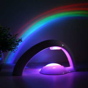 Wholesale Novelty LED Colorful Rainbow Night Light Romantic Sky Rainbow Projector Lamp luminaria Home bedroom led lights