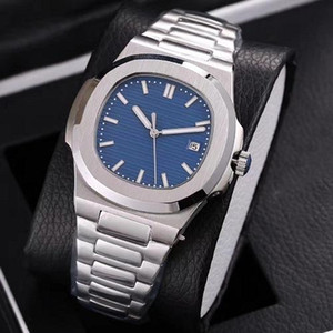 Top Nautilus Watch Men Automatic Watches 5711 Silver Strap Blue Stainless Mens Mechanical Orologio di Lusso Wristwatch