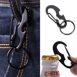Wholesale Outdoors Portable Carabiner Type D Buckle Metal Fast Fastening Key Ring Bottle Opener Spring Hook Function Outdoor Gadgets