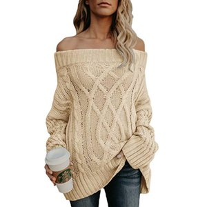 2019 explosion models sweater Europe and America autumn and winter warm thick thick line twist off shoulder sweater women 30pcs on Sale