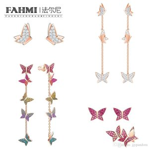 Wholesale FAHMI SWA LILIA Rose Gold Butterfly Tassel Perforated Hoop Long Earring Romantic and Elegant Brings A Stylish Avant garde Look