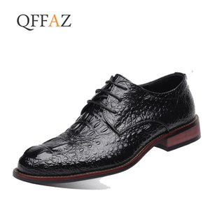 Wholesale QFFAZ Business Oxford Leather Shoes Men Breathable Rubber Formal Dress Shoes Male Office Wedding Flats Footwear