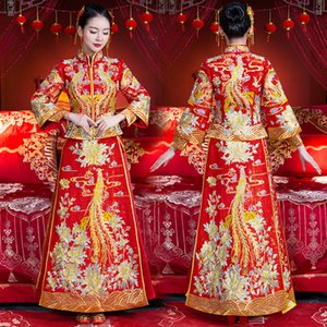 Wholesale Red Rhinestone Noble Bride Dress High Quality Suzhou Embroidery Women Qipao Chinese Ancient Marriage Cheongsam Suit S M L XL