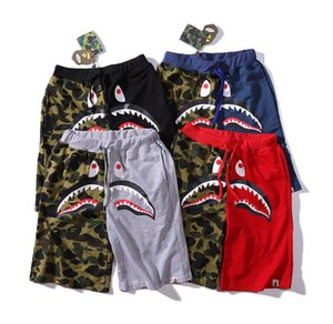 Men Shark Shorts Trunk Summer Beach Camo Causal Shorts patchwork Camouflage Skateboard Short Pants Loose Streetwear LJJA2517 on Sale