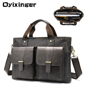 Wholesale Large Genuine Leather Briefcase Men Laptop Inch Mens Business Bag Male Laptop Bags Office Work Bag Sac Homme Luxury Handbag