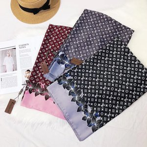 Wholesale Designer Silk scarf Pashmina For Women Summer Ladies Hot Italy Brand women Flower Full logo silk scraves hair Bands with Tag x90cm