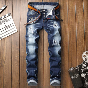 Wholesale Fashion brand mens jeans hand embroidered European and American star paint tearing hole streen leisure travel trousers