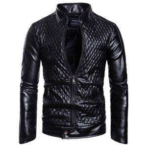 Wholesale Europe and the United States New Trend 2019 Autumn and Winter New Fashion Style Men's Stand Collar Zipper Cardigan Solid Color Leather Jacke
