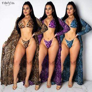 Wholesale 2019 Summer Bikini Summer Swimwear Women Leopard Print Bikini Beach Wear Bikini Set Swimwear Cover Suit Candigan Bathing Up