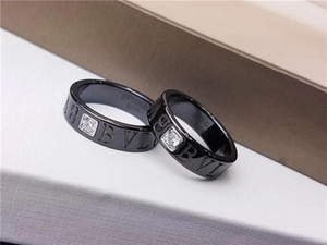 B designer ring jewelry women man Love Black Ceramic rings 925 Silver Bracket Inlay Eight Arrows Simulation Drill perfect beautiful circle