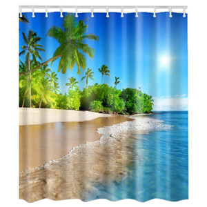 Fabric Waterproof Bathroom Shower Curtain Panel Sheer Decor With Hooks Set,Blue sky waves