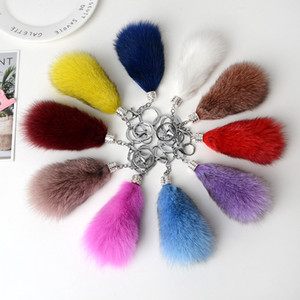 Wholesale Fox Fur Car Pendant Small Angel Rearview Mirror Pendant High Gradee Car Ornaments Drive Safe Key Chain