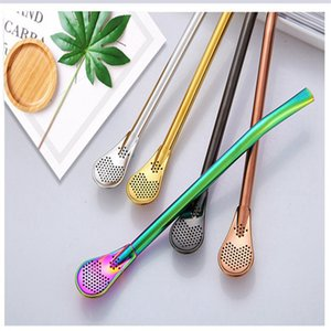 Wholesale Hot Reusable Straws Unique Stainless Steel Straws Tea Spoon Strainer Spoon Filter Colorful Mental Straws Kitchen Accessories For Party Deco
