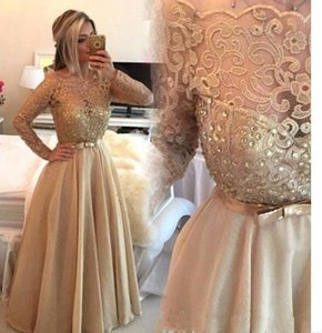 Wholesale 2019 New Sheer Crew Gold Lace Long Prom Dresses Off Shoulder Long Sleeves Beaded A Line Formal Evening Dress Vestido de festa