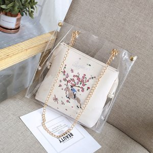 Wholesale Summer fairy bag transparent shoulder bag embroidery flower rope in creative transparent jelly bag women s shoulder
