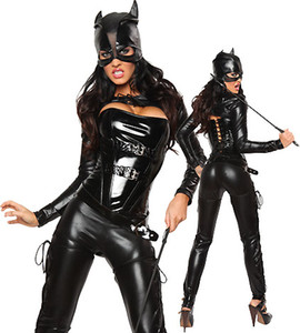 Wholesale GLAMCARE Costumes Cosplay Catsuit One Piece Wet Look Bodysuit Night Club Corset Catsuit Outfit with Cap Black