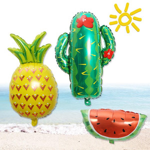 Wholesale tropical decorations for sale - Group buy Fruits Balloons Watermelon Pineapple and Cactus Foil Balloon Helium or Air Hawaii Luau Tropical Birthday Party Decoration large size