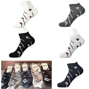 Men's Champion Socks Anklet Letter Printed Athletic Socks Summer Comfortable Cotton Outdoor Basketball Sports Socks with Paperboard C41207 on Sale
