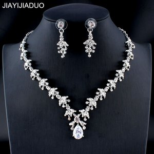 Wholesale jiayijiaduo Women s Wedding Jewelry Set Silver Gold Color Refined Zircon Drops Necklace Earrings Set Girl Dating Accessories