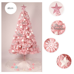 Wholesale HOYVJOY cm Flocking Pink Christmas Tree Mini Tree New Year Decorations With LED Light and Small decorations Custom