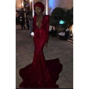 Wholesale sexy headwear resale online - Plunging V Neck Burgundy Sequined Formal Evening Dresses Long Sleeves Sexy Women s Slim Gown Without headwear