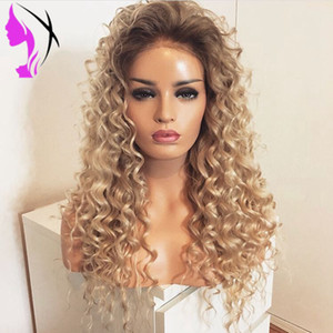 Wholesale Ombre blonde Lace Front Wig with Baby Hair Synthetic kinky Curly Simulatioin Human Hair Wigs for Women Long Wig Pre Plucked Hairline