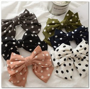 Wholesale layers hair styles for sale - Group buy Big Bows Girls hair clip flesh style kids polka dots printed cloth Bows hairpins children three layers Bows princess barrettes J0708