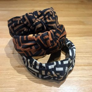 Retail New fashion brown bow letter headband wide-brimmed European and American headband hair band girls headwear headband B365