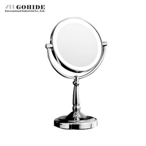 DUH Home Decoration Makeup Round Silver Mirror Led Belt Light Microscopy Double Faced Mirror Beauty Desktop