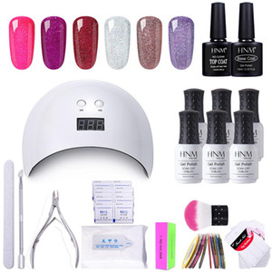 Wholesale HNM Kit Gel Nail Polish Nail Art Tool Set DIY UV LED Lamp Remover Wraps Sticker Box Gift Varnish Lacquer Gellak Sets